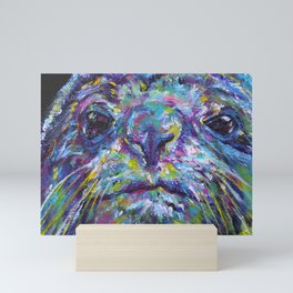 A seal wondering what you are staring at? Mini Art Print
