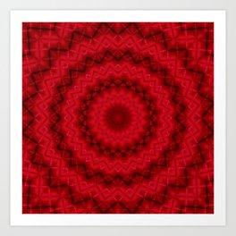 Scarlet bright kaleidoscope Art Print