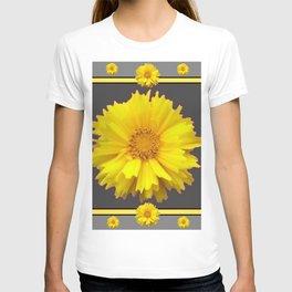 YELLOW & GREY  ART COREOPSIS FLOWERS T-shirt