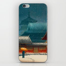 Vintage Japanese Woodblock Print Japanese Red Shinto Shrine Pagoda Winter Snow iPhone Skin