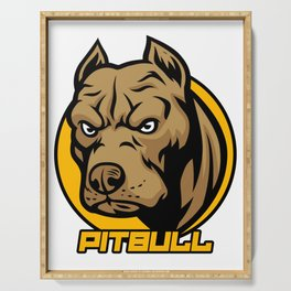 Pitbull Face Cool Pitties Pet Owners Doggie Dog Lovers Veterinarian Gift Serving Tray