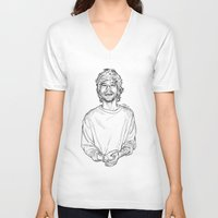 louis tomlinson V-neck T-shirts featuring Louis Tomlinson  by Cécile Pellerin