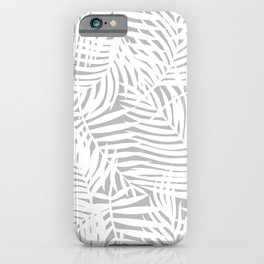 Tropical Grey Leaves iPhone Case