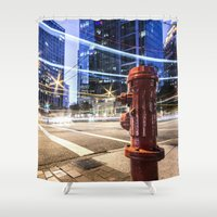 lights Shower Curtains featuring Lights by Justin Forster Photo