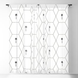 Hexagon Palms - Black and White Blackout Curtain