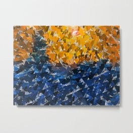 Blue Orange Triangular Landscape Metal Print