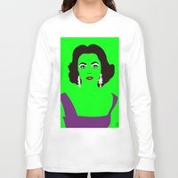 lime green Long Sleeve T-shirts featuring Liz Taylor on Lime Green by Woofer