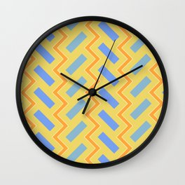 031 Abstract cyan, blue and light orange art for home decoration Wall Clock