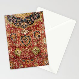 Indian Boho II // 16th Century Distressed Red Green Blue Flowery Colorful Ornate Rug Pattern Stationery Cards