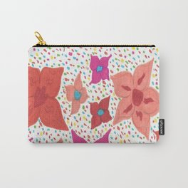 Pink and Orange Floral and Polka Dots Carry-All Pouch