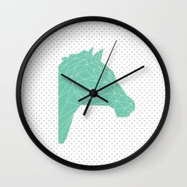Faceted Green Horse Wall Clock