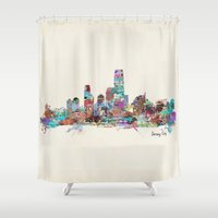 new jersey Shower Curtains featuring jersey city new jersey skyline by bri.b