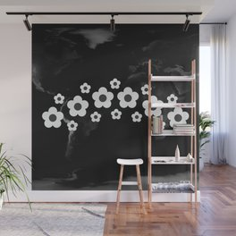 Spectacular silver flowers on black word map #society6 #decor #buyart #artprint Wall Mural