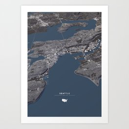 Seattle City Map II Art Print