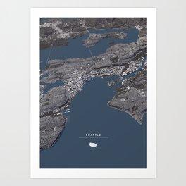 Seattle City Map II Art Print