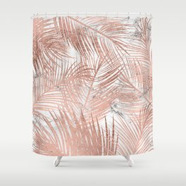 Tropical modern faux rose gold palm tree leaf white marble pattern Shower Curtain