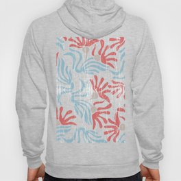 Shabby Abstract Tropical Flowers in Red Blue Beige Hoody