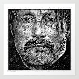 Mads in the Snow Art Print