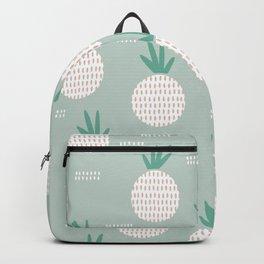 Green lush poppy pineapples pattern Backpack