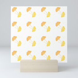 Happy Ginkgo Leaf - I - Yellow, Peach Orange  Mini Art Print