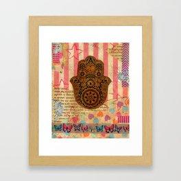 Hearts and Butterfly Hamsa Framed Art Print