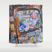 stickers Shower Curtains featuring Stickers by Glenn Designs