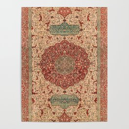 Flowery Vines II // 16th Century Contemporary Red Blue Yellow Colorful Ornate Accent Rug Pattern Poster