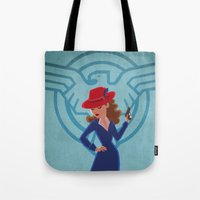 agent carter Tote Bags featuring Agent Peggy Carter by Terry Blas