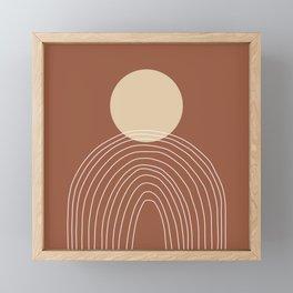 Hand drawn Geometric Lines in Terracotta and Beige Framed Mini Art Print