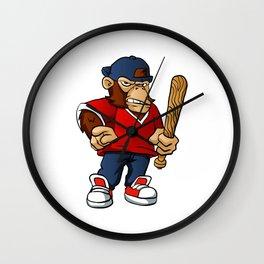 Gorilla Holding Softball Hitting Stick Wall Clock