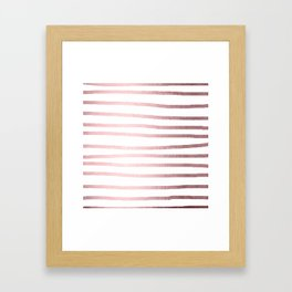 Simply Drawn Stripes Rose Quartz Elegance Framed Art Print