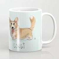 corgi Mugs featuring CORGI by nachodraws