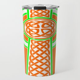 St Patrick's Day Celtic Cross White and Green Travel Mug