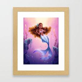 Mermaid with Blonde Curls Framed Art Print