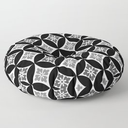 Shippo with Flower Motif, Black, White and Gray Floor Pillow