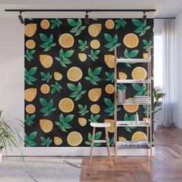 Lemon Fruit Black Pattern Wall Mural