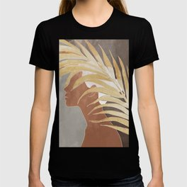 Woman with Golden Palm Leaf T-shirt