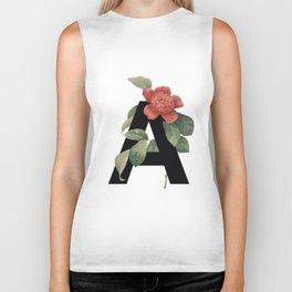 Floral Alphabet Prints: Letter A Biker Tank