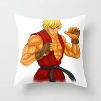 street fighter Throw Pillows featuring Ken Street Fighter by jasonarts