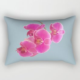 Orchids Photo to Paint on Blue Rectangular Pillow