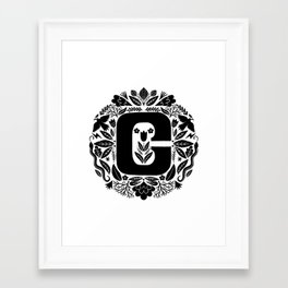 Letter C monogram wildwood Framed Art Print