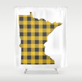 Minnesota Plaid In Yellow Shower Curtain