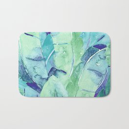 Banana Tree Leaves | Tropical  BLUE Watercolor Bath Mat