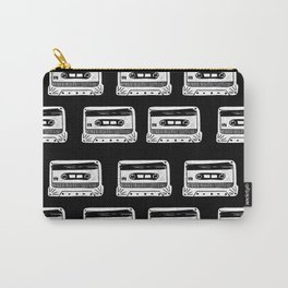 Linocut Cassette Tape black and white minimal retro analog music tape player Carry-All Pouch