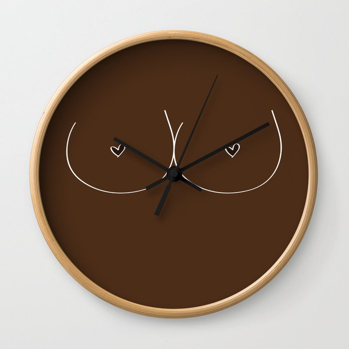 Boobs - Dark Brown Wall Clock
