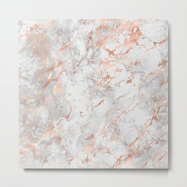 Beautiful Rose Gold Marble Pattern Metal Print