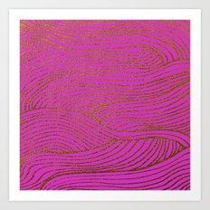 Wind Hot Pink Gold Art Print