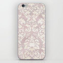 Beige Shabby Damask Pattern iPhone Skin