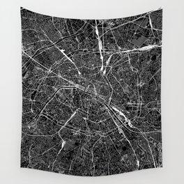 Paris Black Map Wall Tapestry