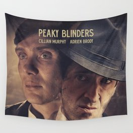 Peaky Blinders poster, Cillian Murphy is Thomas Shelby, Adrien Brody is Luca Changretta Wall Tapestry